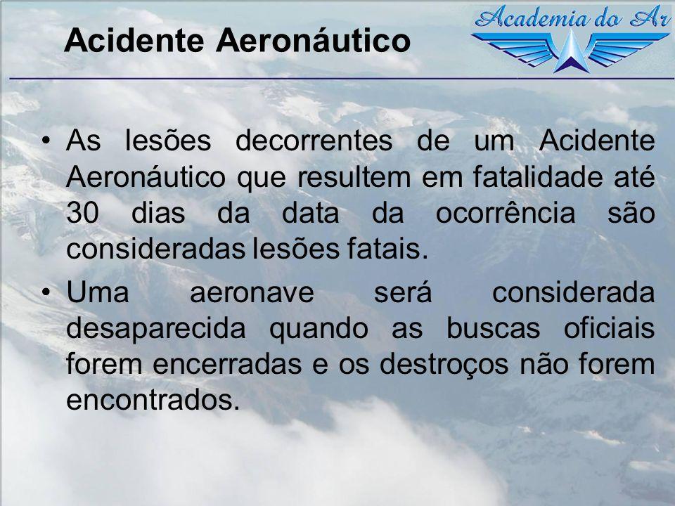 Acidente Aeronáutico As lesões decorrentes de um Acidente Aeronáutico que resultem em fatalidade até 30 dias da data da ocorrência são consideradas le