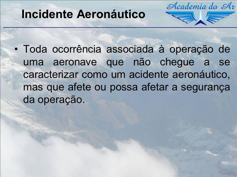 Incidente Aeronáutico Toda ocorrência associada à operação de uma aeronave que não chegue a se caracterizar como um acidente aeronáutico, mas que afet
