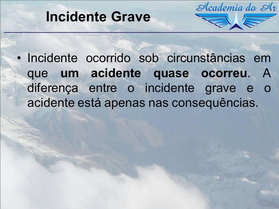 Incidente Grave Incidente ocorrido sob circunstâncias em que um acidente quase ocorreu. A diferença entre o incidente grave e o acidente está apenas n