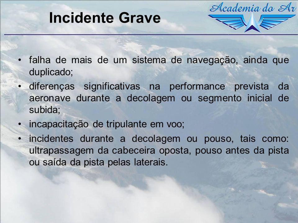 Incidente Grave falha de mais de um sistema de navegação, ainda que duplicado; diferenças significativas na performance prevista da aeronave durante a