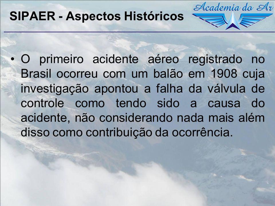 SIPAER - Aspectos Históricos O primeiro acidente aéreo registrado no Brasil ocorreu com um balão em 1908 cuja investigação apontou a falha da válvula