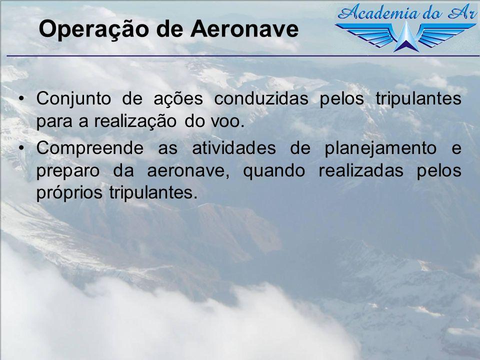 Operação de Aeronave Conjunto de ações conduzidas pelos tripulantes para a realização do voo. Compreende as atividades de planejamento e preparo da ae