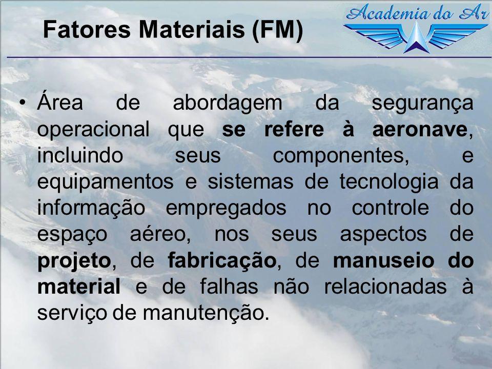 Fatores Materiais (FM) Área de abordagem da segurança operacional que se refere à aeronave, incluindo seus componentes, e equipamentos e sistemas de t