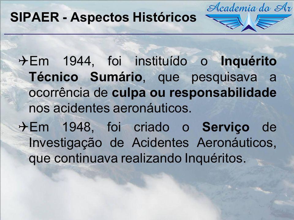 SIPAER - Aspectos Históricos Em 1965 foi criado o SIPAER – Serviço de Investigação e Prevenção de Acidentes Aeronáuticos dando início à pesquisa dos aspectos básicos relacionados à atividade aeronáutica: Os fatores: Humanos; e Materiais.