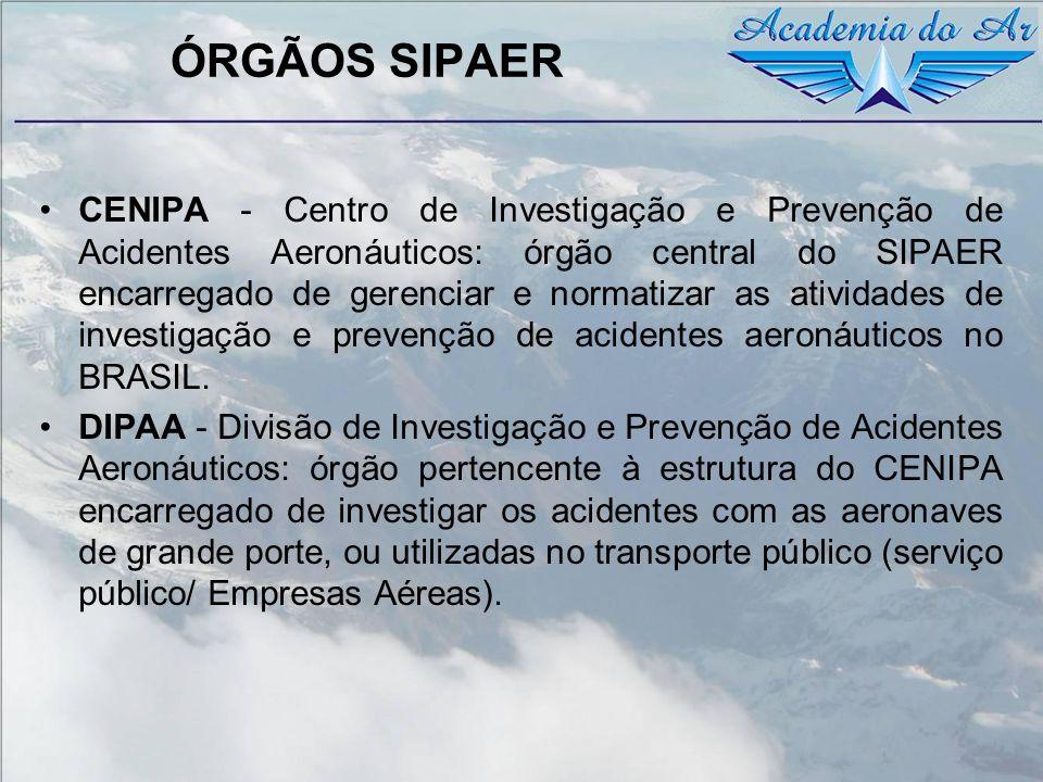 ÓRGÃOS SIPAER CENIPA - Centro de Investigação e Prevenção de Acidentes Aeronáuticos: órgão central do SIPAER encarregado de gerenciar e normatizar as