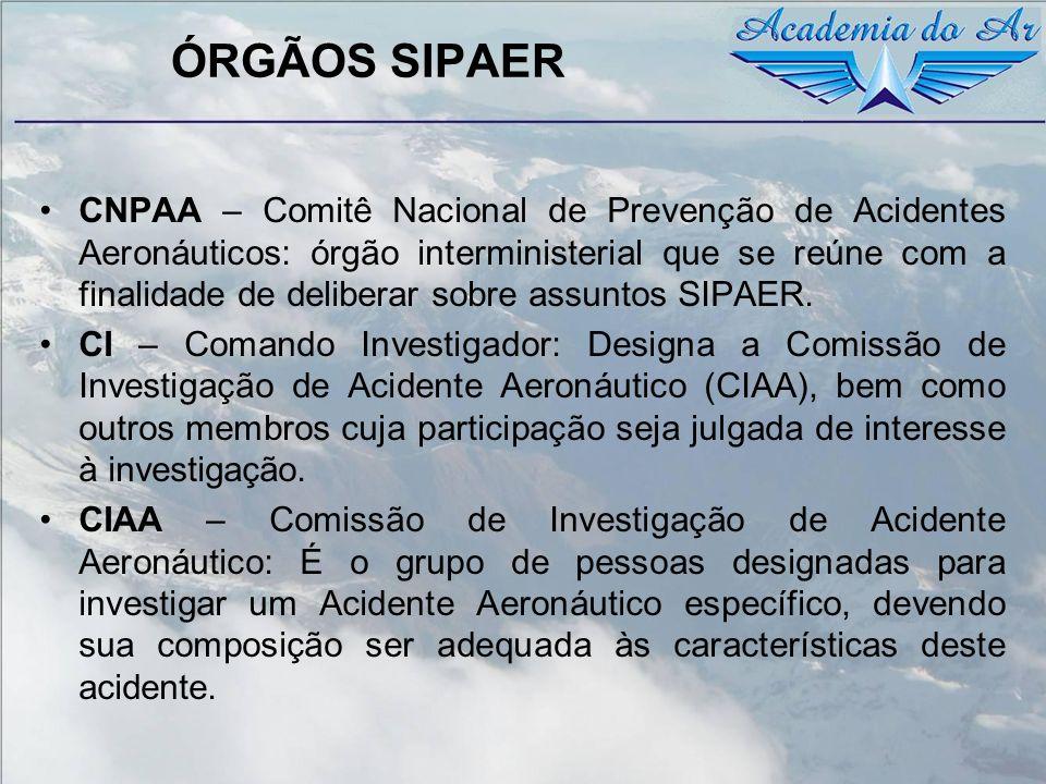 ÓRGÃOS SIPAER CNPAA – Comitê Nacional de Prevenção de Acidentes Aeronáuticos: órgão interministerial que se reúne com a finalidade de deliberar sobre