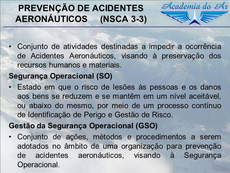 PREVENÇÃO DE ACIDENTES AERONÁUTICOS (NSCA 3-3) Conjunto de atividades destinadas a impedir a ocorrência de Acidentes Aeronáuticos, visando à preservaç