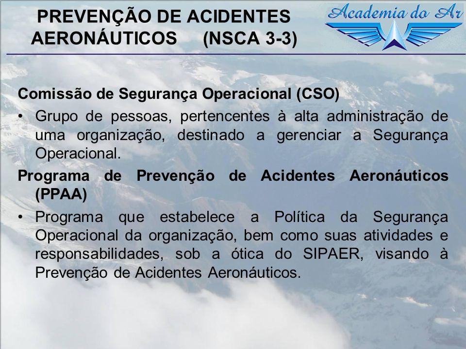 PREVENÇÃO DE ACIDENTES AERONÁUTICOS (NSCA 3-3) Comissão de Segurança Operacional (CSO) Grupo de pessoas, pertencentes à alta administração de uma orga
