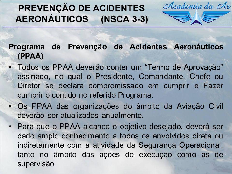 PREVENÇÃO DE ACIDENTES AERONÁUTICOS (NSCA 3-3) Programa de Prevenção de Acidentes Aeronáuticos (PPAA) Todos os PPAA deverão conter um Termo de Aprovaç