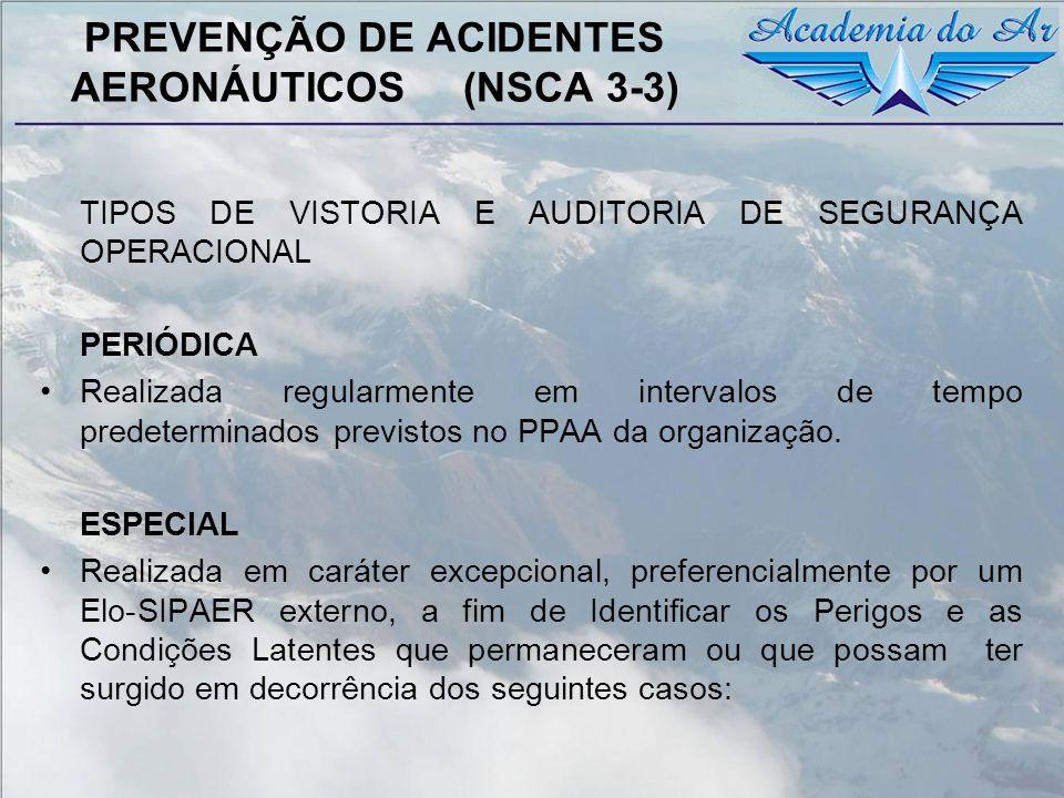 PREVENÇÃO DE ACIDENTES AERONÁUTICOS (NSCA 3-3) TIPOS DE VISTORIA E AUDITORIA DE SEGURANÇA OPERACIONAL PERIÓDICA Realizada regularmente em intervalos d