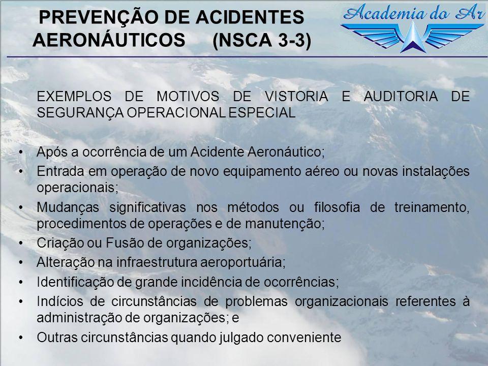 PREVENÇÃO DE ACIDENTES AERONÁUTICOS (NSCA 3-3) EXEMPLOS DE MOTIVOS DE VISTORIA E AUDITORIA DE SEGURANÇA OPERACIONAL ESPECIAL Após a ocorrência de um A