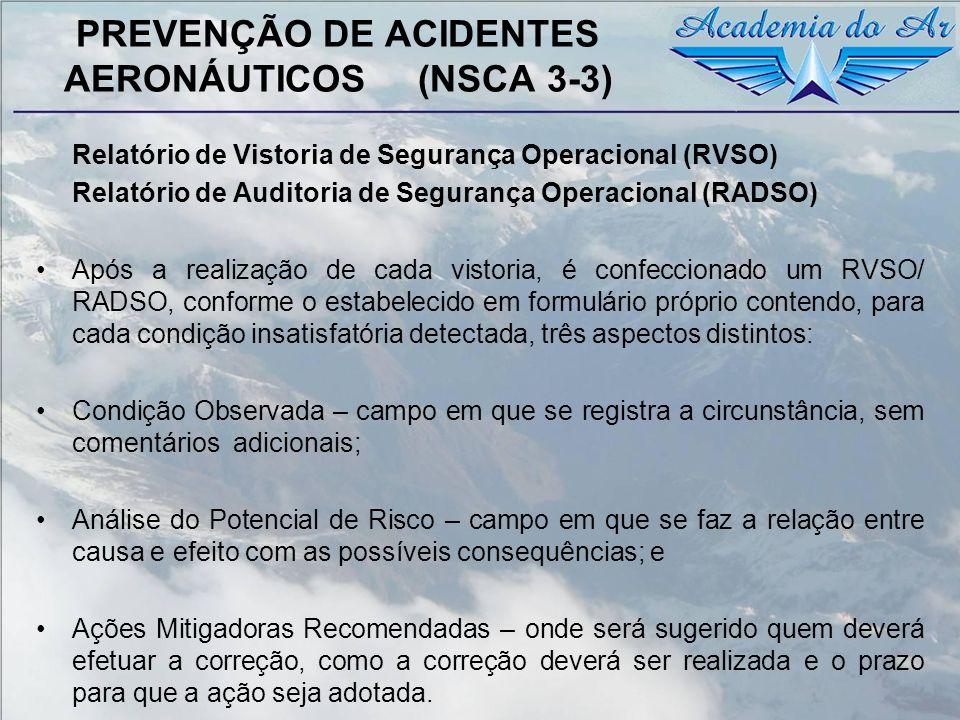 PREVENÇÃO DE ACIDENTES AERONÁUTICOS (NSCA 3-3) Relatório de Vistoria de Segurança Operacional (RVSO) Relatório de Auditoria de Segurança Operacional (
