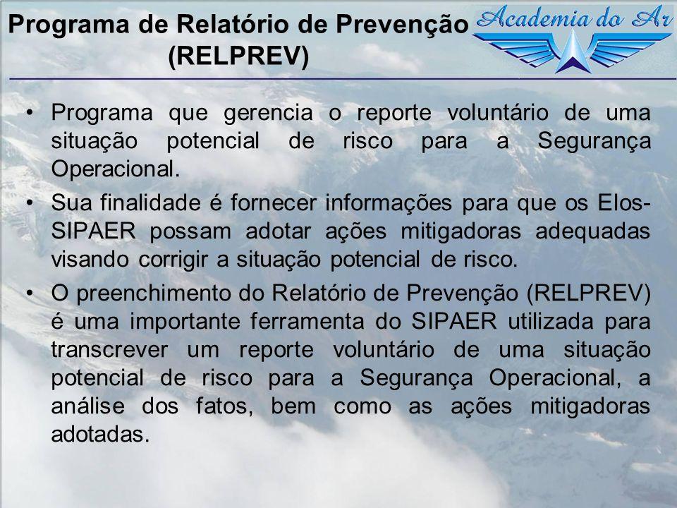 Programa de Relatório de Prevenção (RELPREV) Programa que gerencia o reporte voluntário de uma situação potencial de risco para a Segurança Operaciona