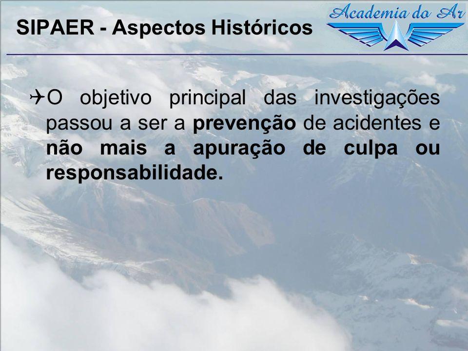 SIPAER - Aspectos Históricos O objetivo principal das investigações passou a ser a prevenção de acidentes e não mais a apuração de culpa ou responsabi
