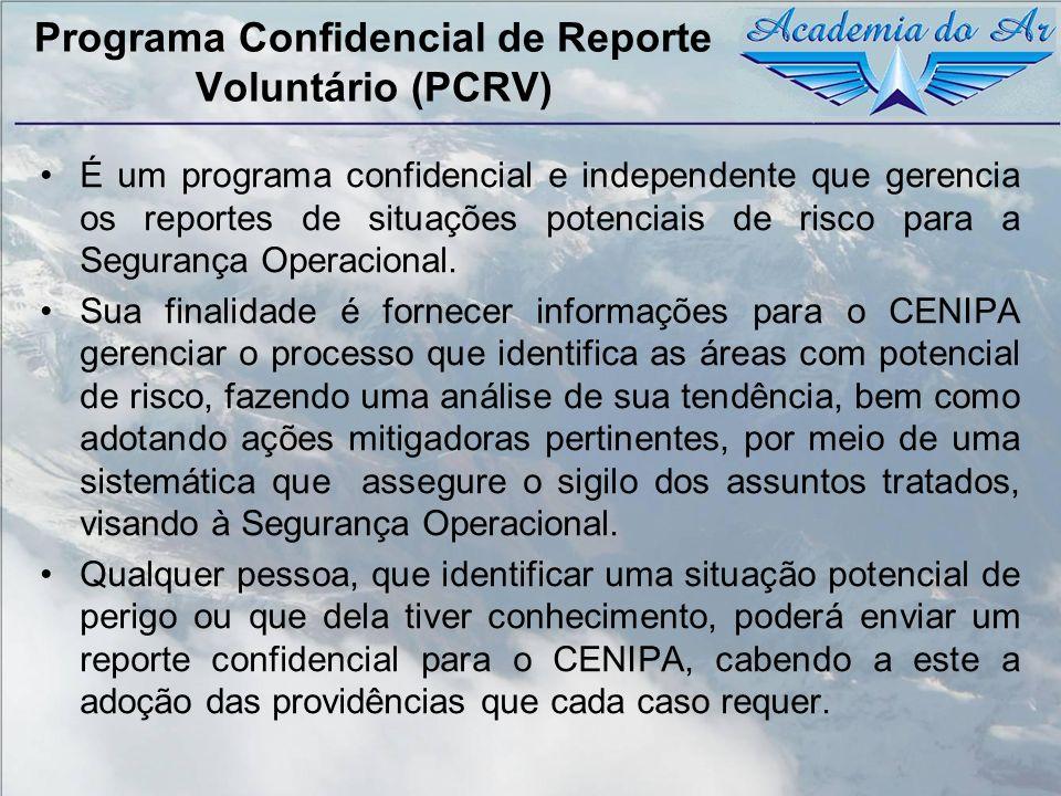 Programa Confidencial de Reporte Voluntário (PCRV) É um programa confidencial e independente que gerencia os reportes de situações potenciais de risco