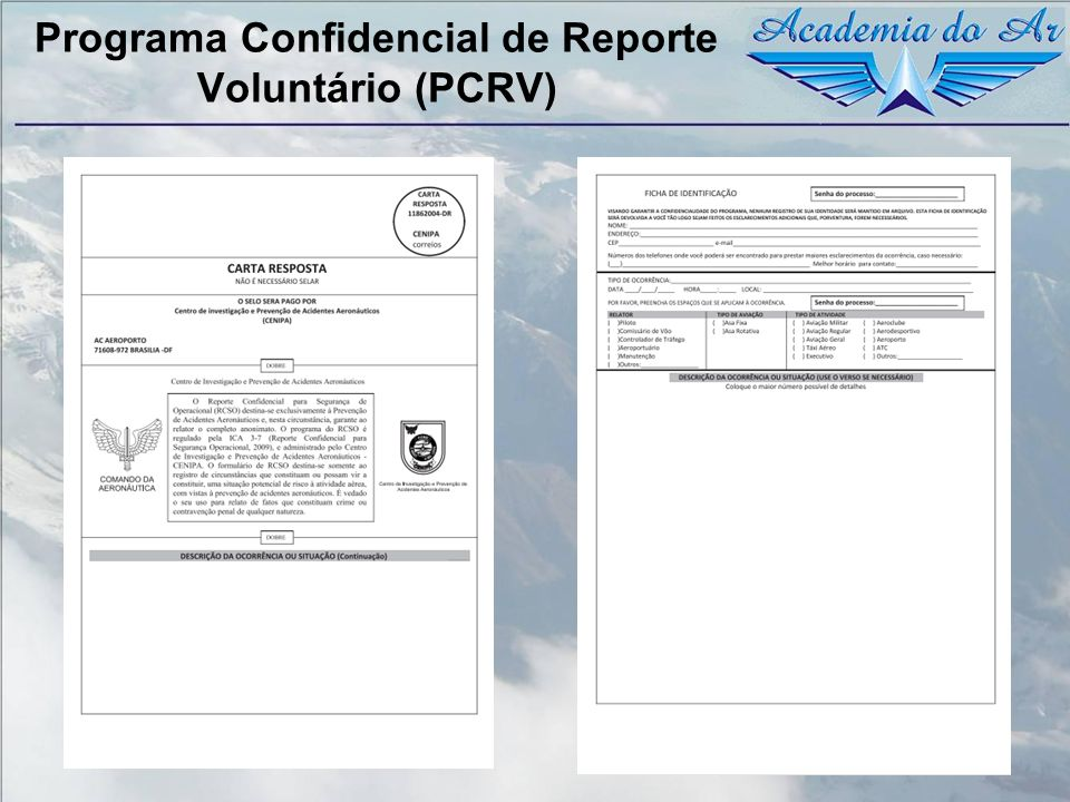 Programa Confidencial de Reporte Voluntário (PCRV)