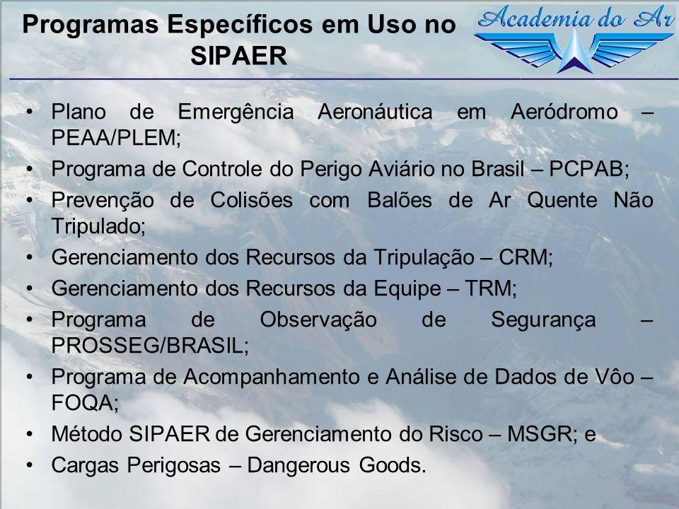 Programas Específicos em Uso no SIPAER Plano de Emergência Aeronáutica em Aeródromo – PEAA/PLEM; Programa de Controle do Perigo Aviário no Brasil – PC