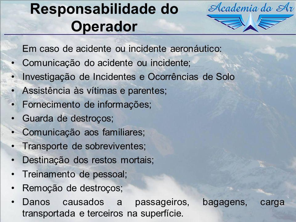 Responsabilidade do Operador Em caso de acidente ou incidente aeronáutico: Comunicação do acidente ou incidente; Investigação de Incidentes e Ocorrênc