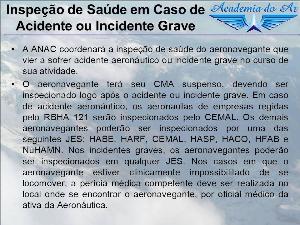 Inspeção de Saúde em Caso de Acidente ou Incidente Grave A ANAC coordenará a inspeção de saúde do aeronavegante que vier a sofrer acidente aeronáutico