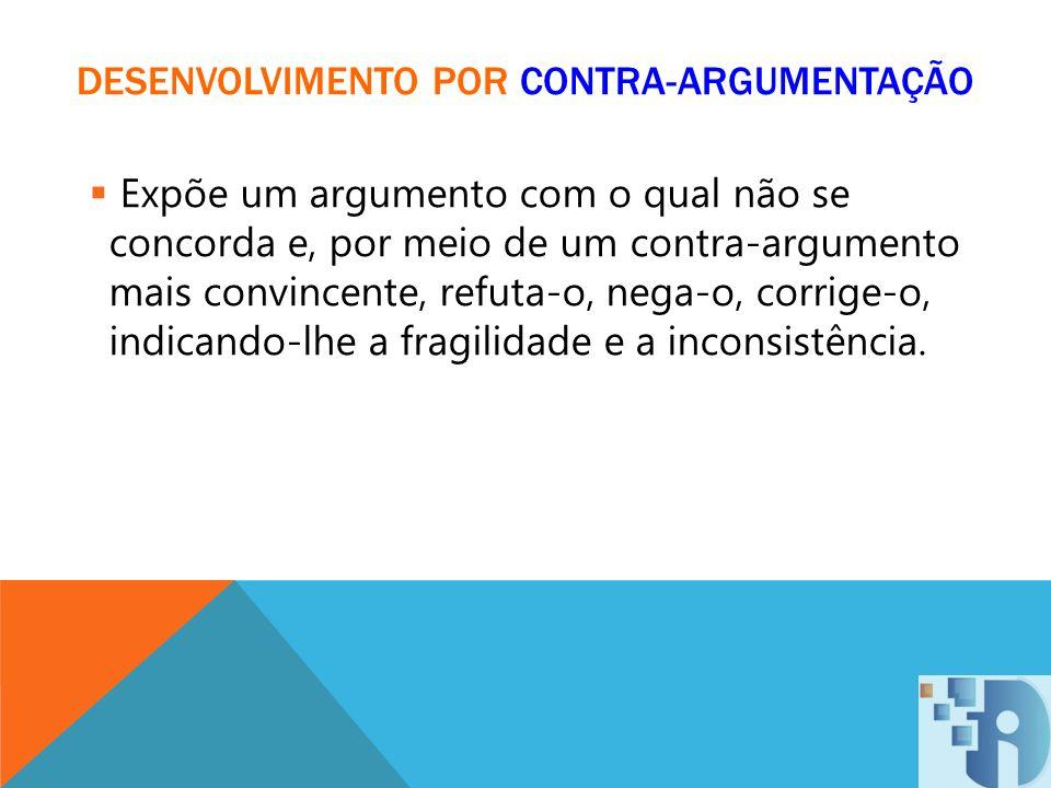 DESENVOLVIMENTO POR CONTRA-ARGUMENTAÇÃO Expõe um argumento com o qual não se concorda e, por meio de um contra-argumento mais convincente, refuta-o, n