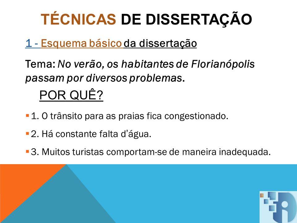 TÉCNICAS DE DISSERTAÇÃO 1 - Esquema básico da dissertação Tema: No verão, os habitantes de Florianópolis passam por diversos problemas. 1. O trânsito