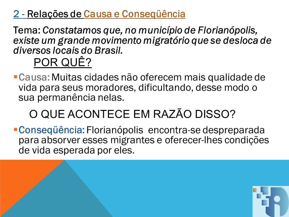 2 - Relações de Causa e Conseqüência Tema: Constatamos que, no município de Florianópolis, existe um grande movimento migratório que se desloca de div