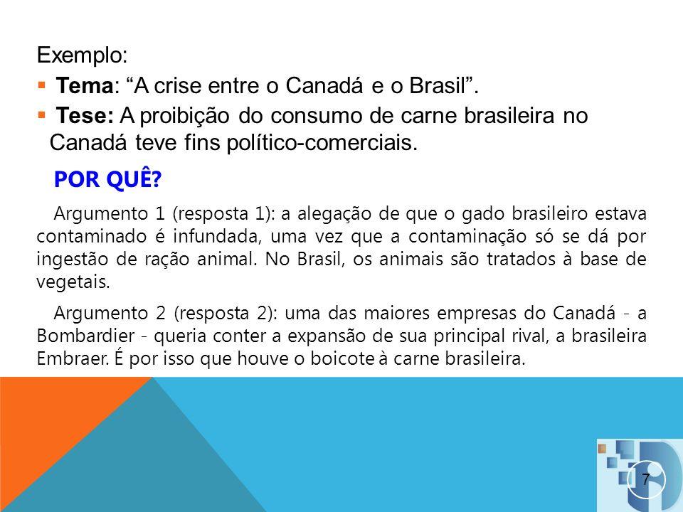 7 Exemplo: Tema: A crise entre o Canadá e o Brasil. Tese: A proibição do consumo de carne brasileira no Canadá teve fins político-comerciais. POR QUÊ?
