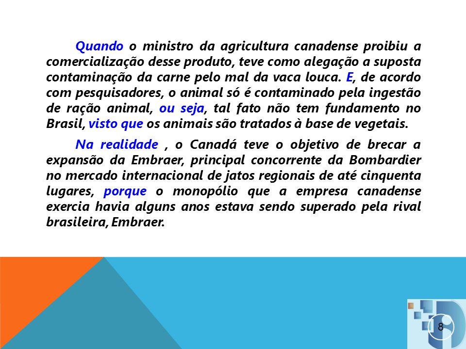 Quando o ministro da agricultura canadense proibiu a comercialização desse produto, teve como alegação a suposta contaminação da carne pelo mal da vac