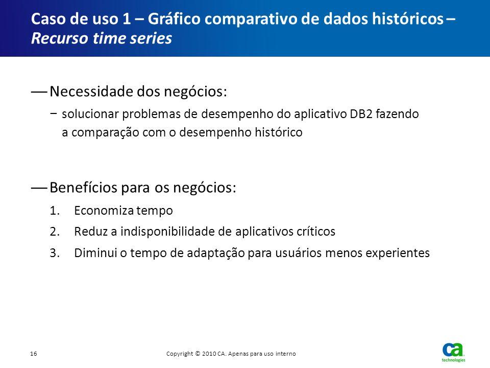 Necessidade dos negócios: solucionar problemas de desempenho do aplicativo DB2 fazendo a comparação com o desempenho histórico Benefícios para os negó