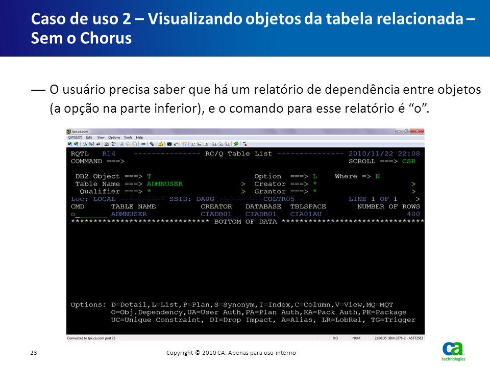 O usuário precisa saber que há um relatório de dependência entre objetos (a opção na parte inferior), e o comando para esse relatório é o. Caso de uso