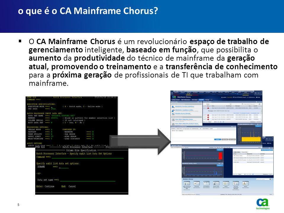 O CA Mainframe Chorus é um revolucionário espaço de trabalho de gerenciamento inteligente, baseado em função, que possibilita o aumento da produtivida