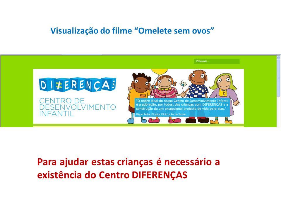 Visualização do filme Omelete sem ovos Para ajudar estas crianças é necessário a existência do Centro DIFERENÇAS