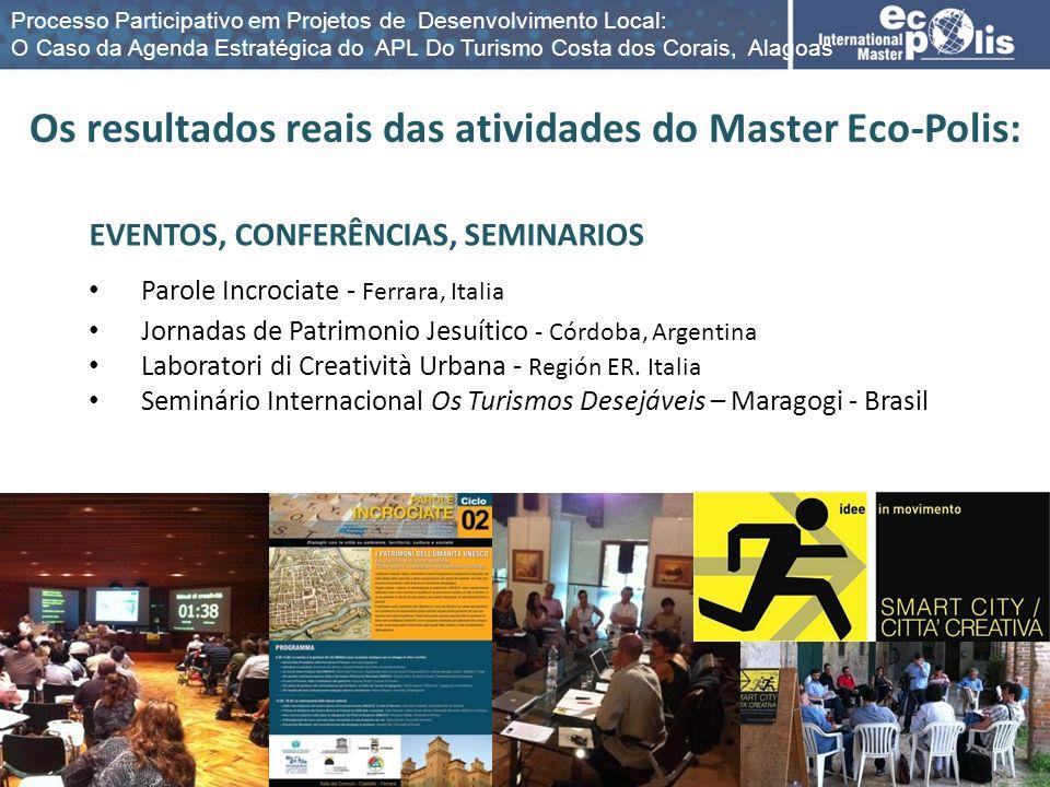 Os resultados reais das atividades do Master Eco-Polis: EVENTOS, CONFERÊNCIAS, SEMINARIOS Parole Incrociate - Ferrara, Italia Jornadas de Patrimonio J