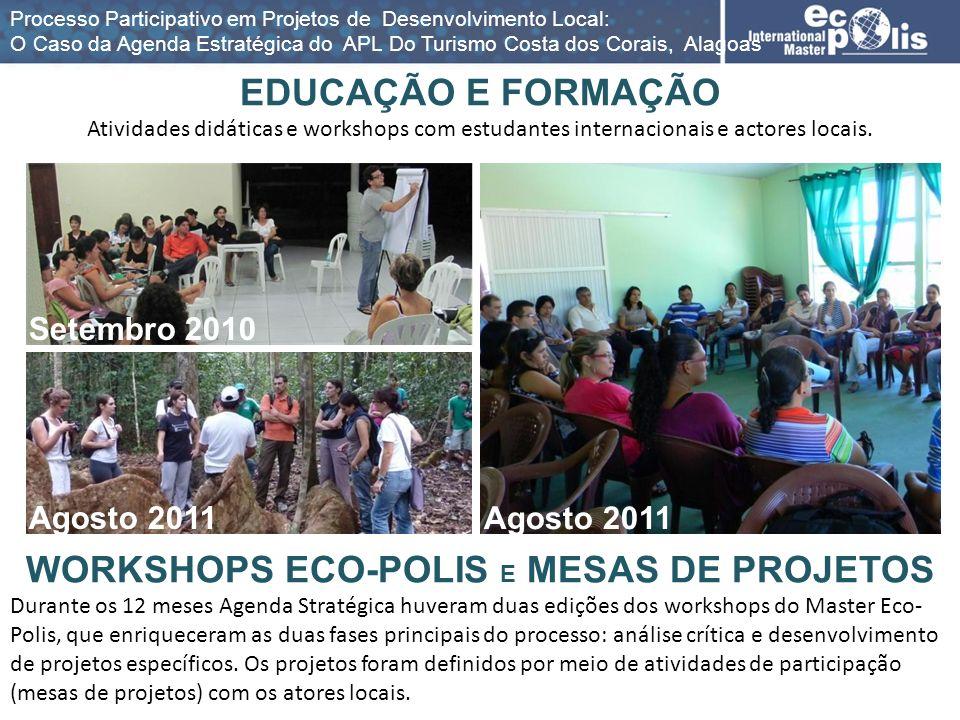 EDUCAÇÃO E FORMAÇÃO Atividades didáticas e workshops com estudantes internacionais e actores locais. WORKSHOPS ECO-POLIS E MESAS DE PROJETOS Durante o