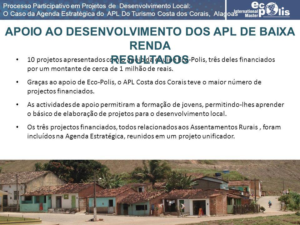10 projetos apresentados com o apoio da equipe Eco-Polis, três deles financiados por um montante de cerca de 1 milhão de reais. Graças ao apoio de Eco