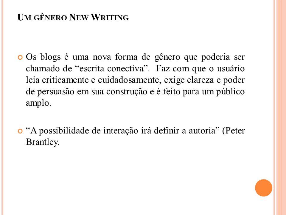 U M GÊNERO N EW W RITING Os blogs é uma nova forma de gênero que poderia ser chamado de escrita conectiva.