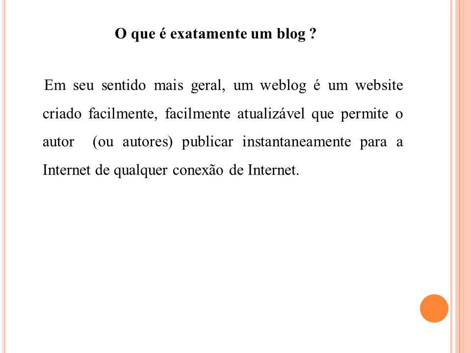 A PEDAGOGIA DE WEBLOGS O que exatamente os weblogs podem fazer para melhorar o aprendizado do aluno.