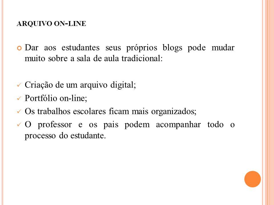 ARQUIVO ON - LINE Dar aos estudantes seus próprios blogs pode mudar muito sobre a sala de aula tradicional: Criação de um arquivo digital; Portfólio on-line; Os trabalhos escolares ficam mais organizados; O professor e os pais podem acompanhar todo o processo do estudante.