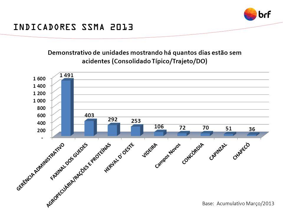 Base: Acumulativo Março/2013 INDICADORES SSMA 2013