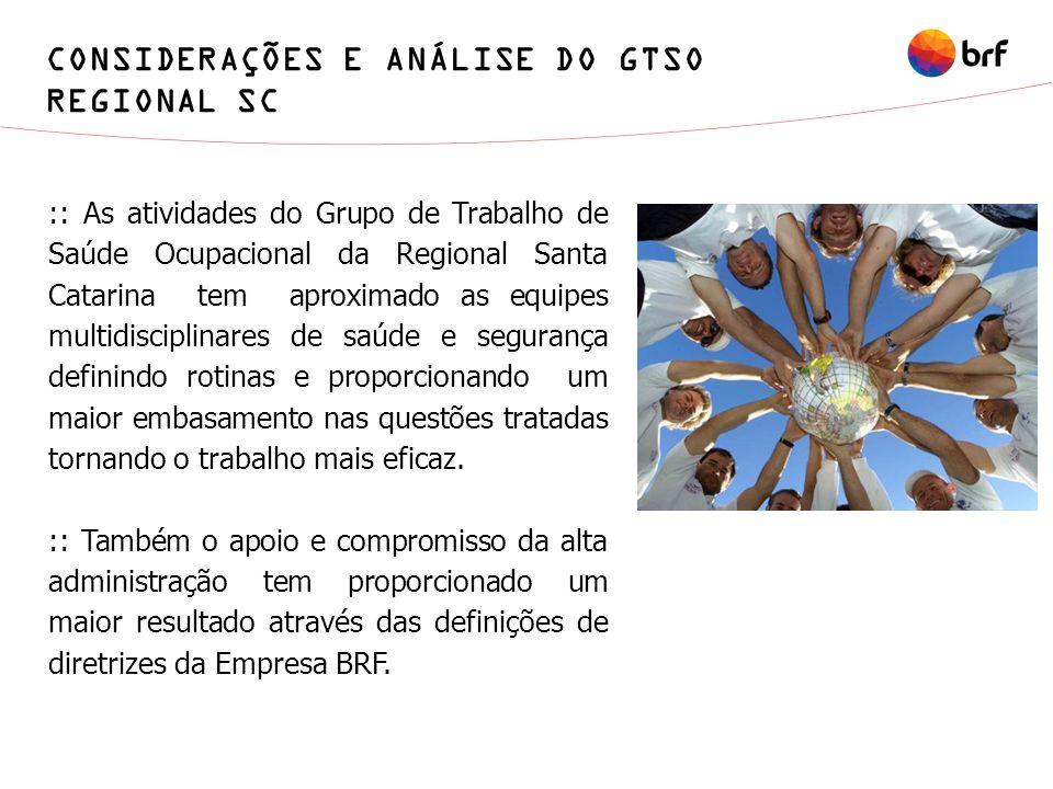 CONSIDERAÇÕES E ANÁLISE DO GTSO REGIONAL SC :: As atividades do Grupo de Trabalho de Saúde Ocupacional da Regional Santa Catarina tem aproximado as eq