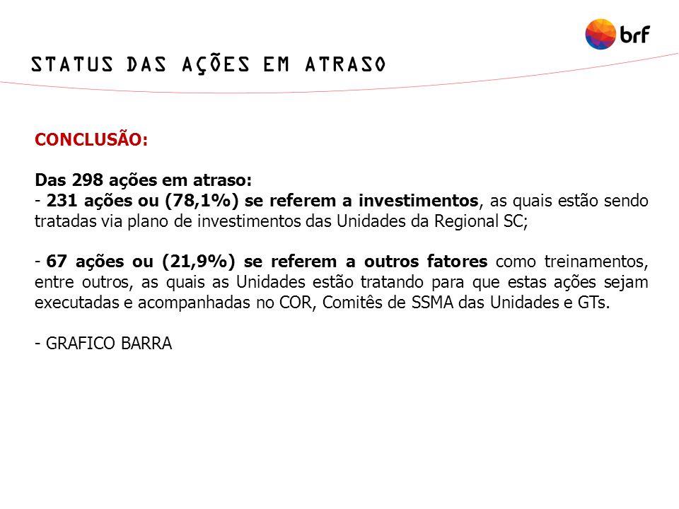 STATUS DAS AÇÕES EM ATRASO CONCLUSÃO: Das 298 ações em atraso: - 231 ações ou (78,1%) se referem a investimentos, as quais estão sendo tratadas via pl