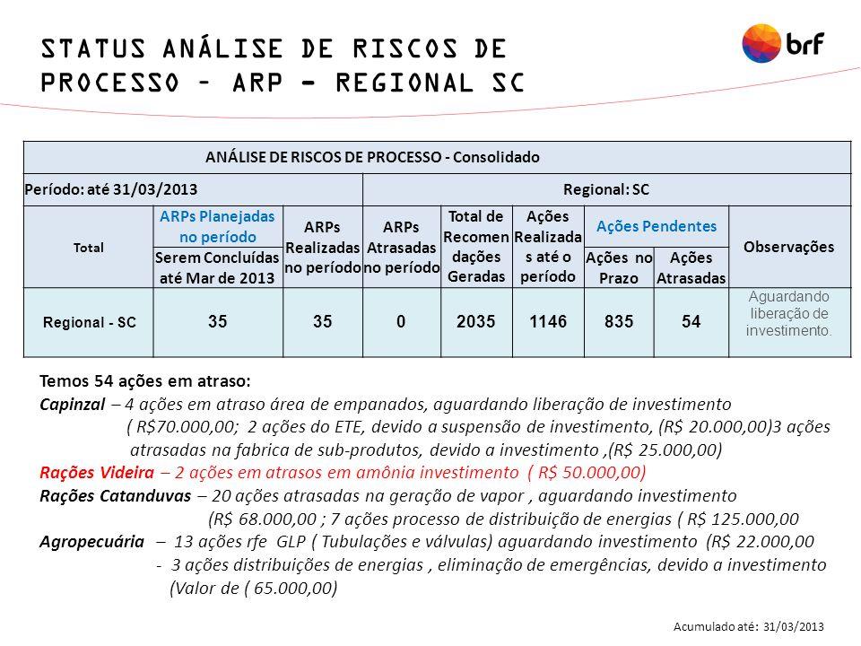 ANÁLISE DE RISCOS DE PROCESSO - Consolidado Período: até 31/03/2013Regional: SC Total ARPs Planejadas no período ARPs Realizadas no período ARPs Atras