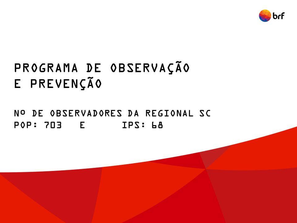 PROGRAMA DE OBSERVAÇÃO E PREVENÇÃO Nº DE OBSERVADORES DA REGIONAL SC POP: 703 E IPS: 68