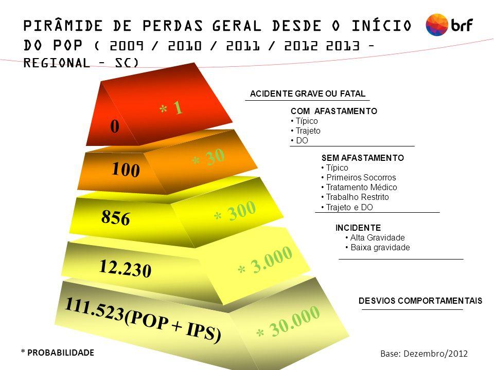 PIRÂMIDE DE PERDAS GERAL DESDE O INÍCIO DO POP ( 2009 / 2010 / 2011 / 2012 2013 – REGIONAL – SC) * PROBABILIDADE 111.523(POP + IPS) 100 856 * 3.000 0