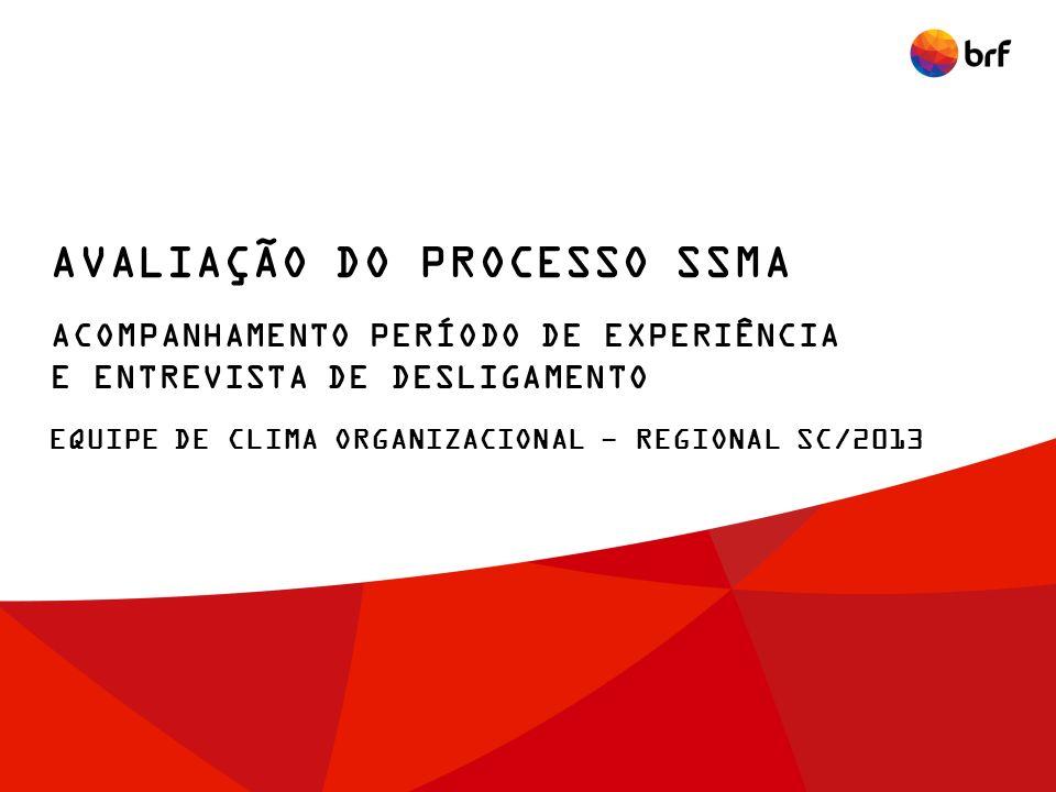 EQUIPE DE CLIMA ORGANIZACIONAL - REGIONAL SC/2013 AVALIAÇÃO DO PROCESSO SSMA ACOMPANHAMENTO PERÍODO DE EXPERIÊNCIA E ENTREVISTA DE DESLIGAMENTO