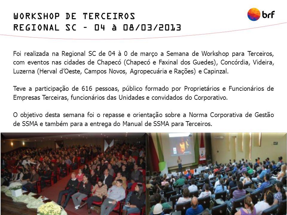 WORKSHOP DE TERCEIROS REGIONAL SC – 04 à 08/03/2013 Foi realizada na Regional SC de 04 à 0 de março a Semana de Workshop para Terceiros, com eventos n