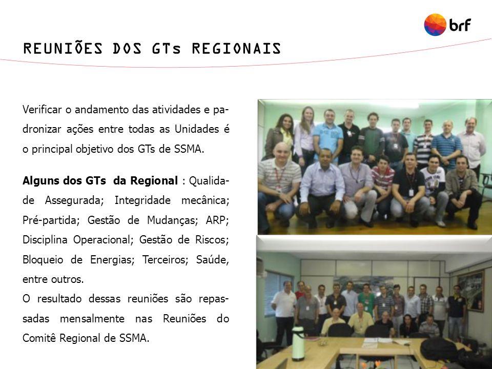 REUNIÕES DOS GTs REGIONAIS Verificar o andamento das atividades e pa- dronizar ações entre todas as Unidades é o principal objetivo dos GTs de SSMA. A