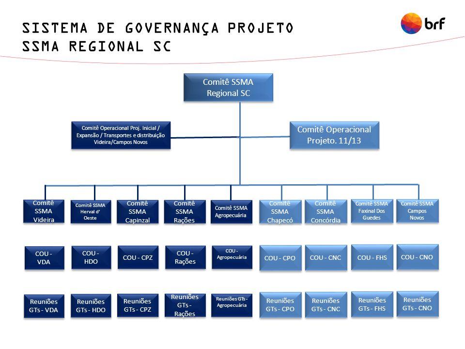 SISTEMA DE GOVERNANÇA PROJETO SSMA REGIONAL SC Comitê SSMA Regional SC Comitê Operacional Proj. Inicial / Expansão / Transportes e distribuição Videir