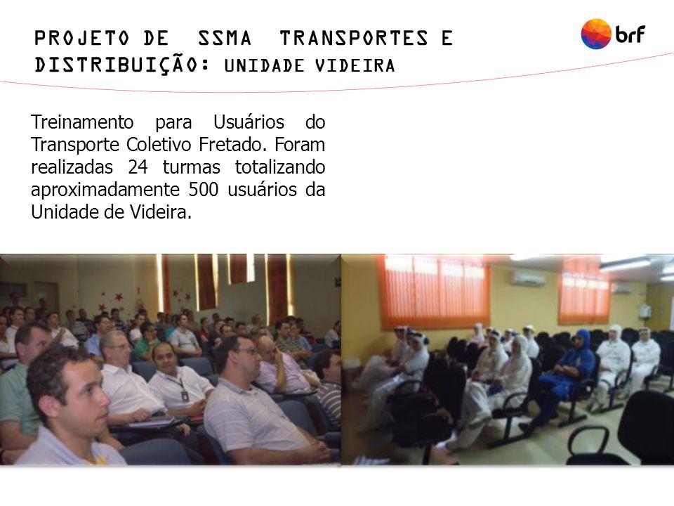 Treinamento para Usuários do Transporte Coletivo Fretado. Foram realizadas 24 turmas totalizando aproximadamente 500 usuários da Unidade de Videira. P