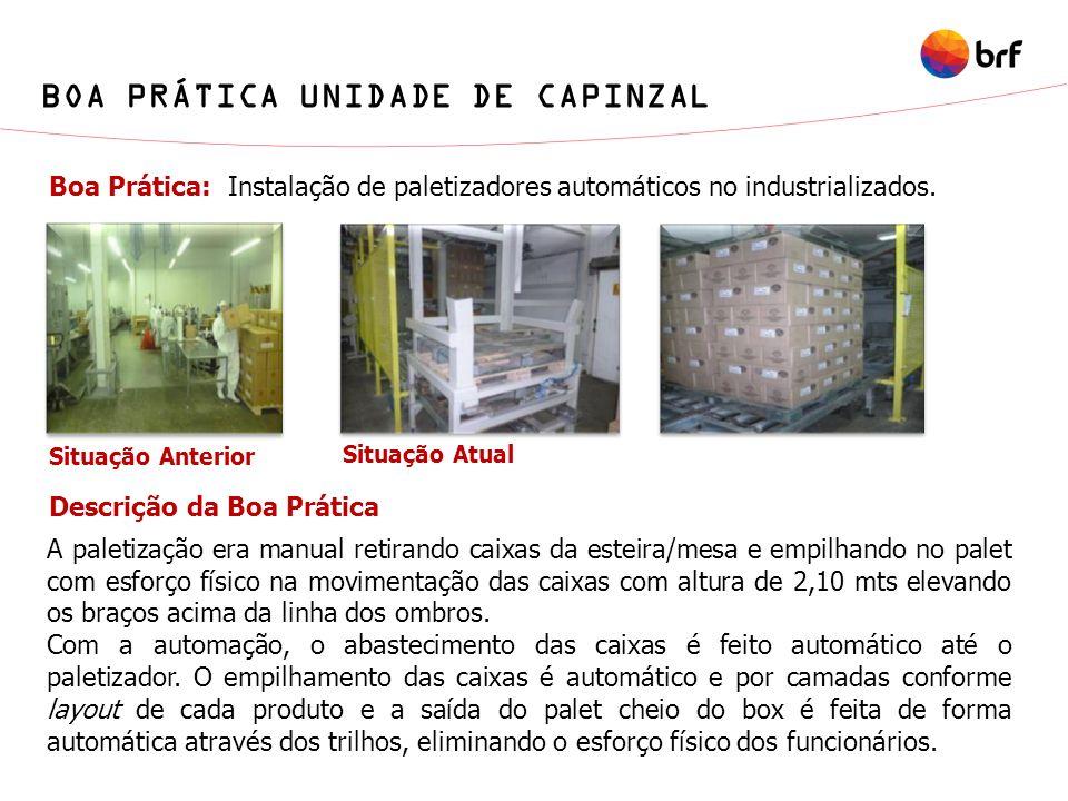 Boa Prática: Instalação de paletizadores automáticos no industrializados. A paletização era manual retirando caixas da esteira/mesa e empilhando no pa
